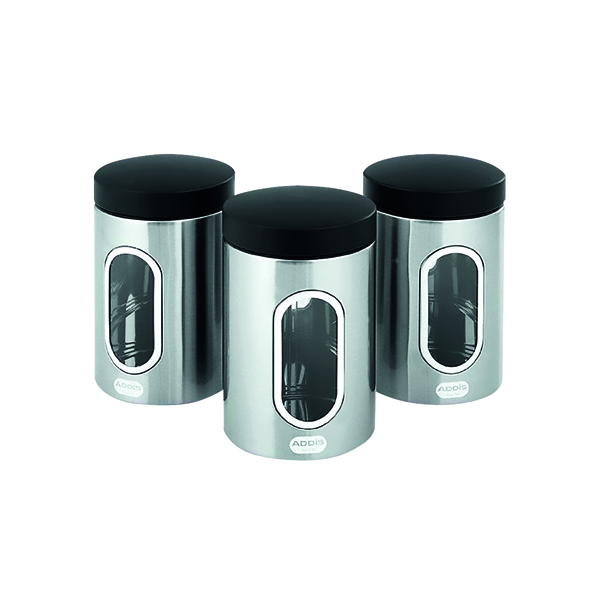 Accessories Kitchen Canisters Set of 3 Silver Stainless Steel KZOCS