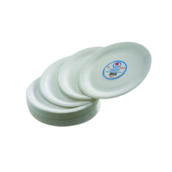 Crockery Paper Plate 7 Inch White (100 Pack) 0511040