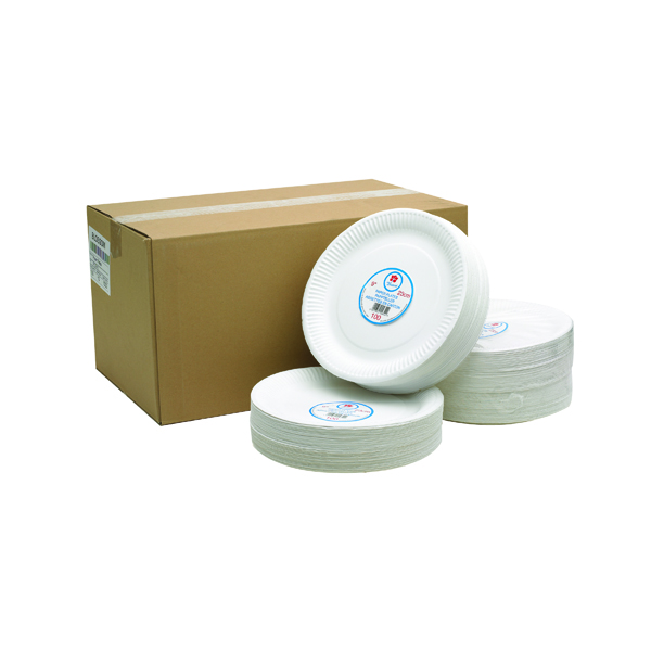 Crockery Paper Plate 9 Inch White (100 Pack) 0511041