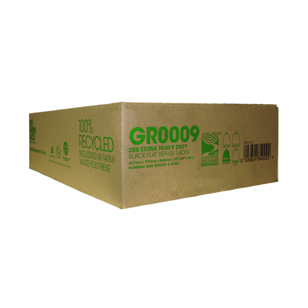The Green Sack Extra Heavy Duty Refuse Sack Black (200 Pack) GR0009