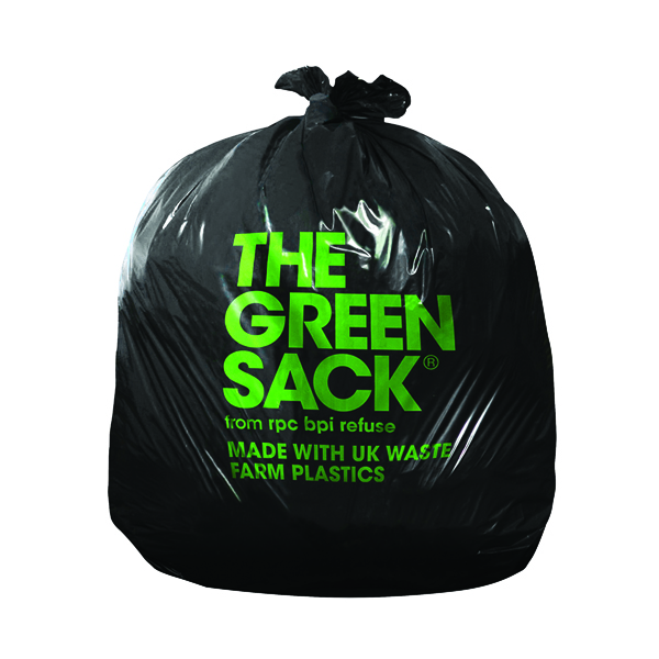 Binliner/Bags The Green Sack Heavy Duty Refuse Sack Black (200 Pack) KMAXHD