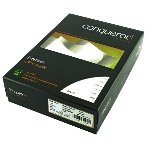 White 100gsm Conqueror Laid A4 Paper 100gsm High White (500 Pack) CQP0324HWNW