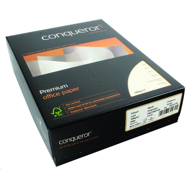 Conqueror Laid A4 Paper 100gsm Vellum (500 Pack) CQP0324VENW