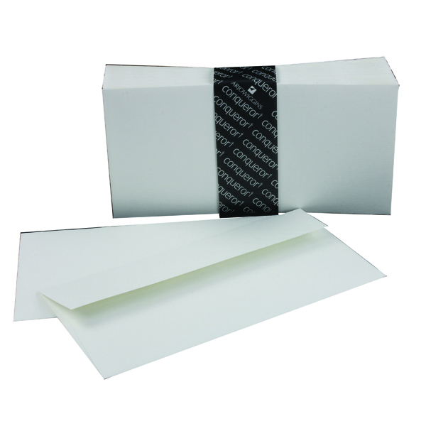 White Plain Conqueror Laid 110x220mm High White DL Wallet Envelope (500 Pack) CDE1440HW