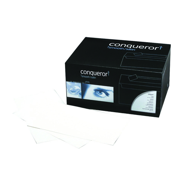 White Plain Conqueror Laid 110x220mm Bright White DL Wallet Envelope (500 Pack) CXN1625DW