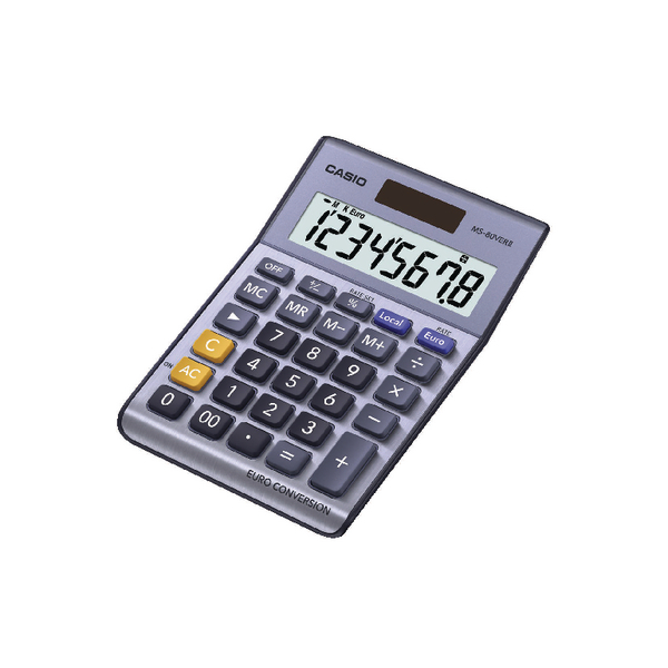 Desktop Calculator Casio Silver 8-Digit Currency Calculator MS-80VERII