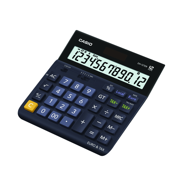 Desktop Calculator Casio 12 Digit Landscape Tax/Currency Calculator Black DH-12TER