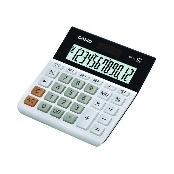 Desktop Calculator Casio 12-digit Landscape Basic Function Calculator White MH-12-WE-SK-UP