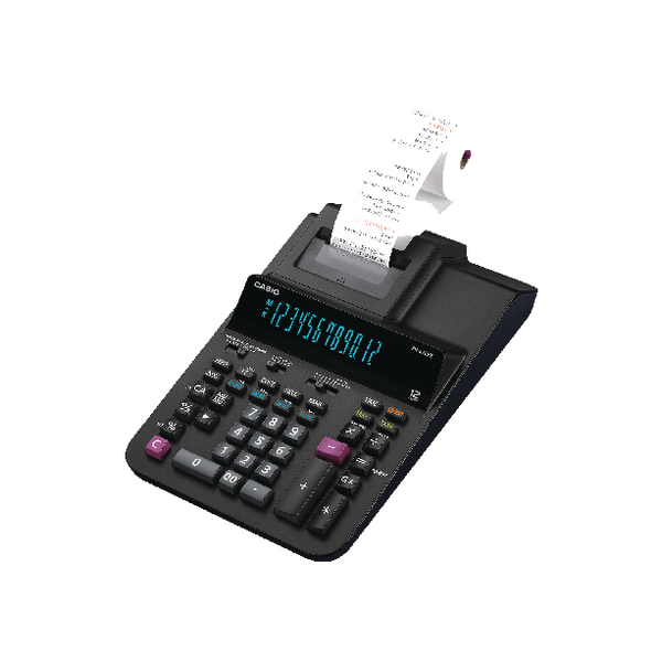 Printing Calculator Casio Black 12 Digit Printing Calculator FR620 RE