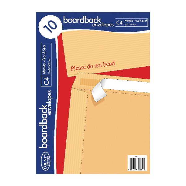 County Stationery C4 10 Manilla Board Envelopes (10 Pack) C525