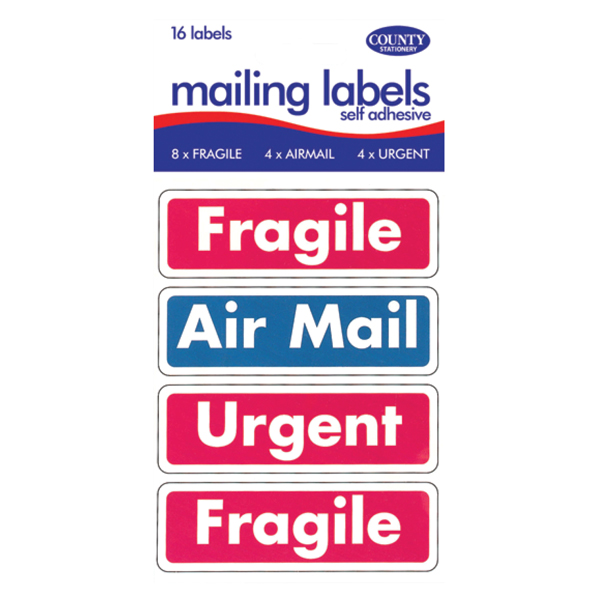 Polybags County Mail Labels Fragile/Airmail/Urgent (12 packs of 16) C162
