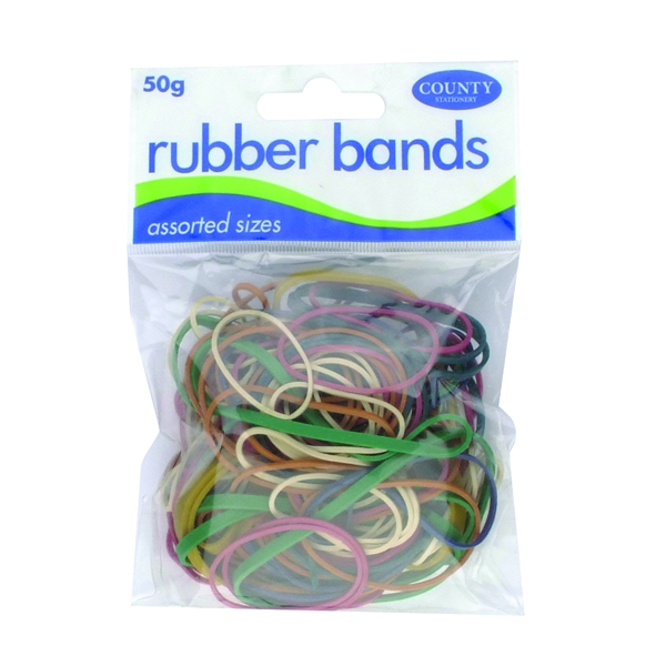 Rubber Bands County Rubber Bands Coloured 50gm (12 Pack) C225