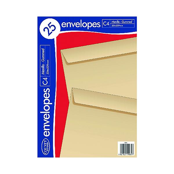 County Stationery C4 Manilla Gummed Envelopes (500 Pack) C506