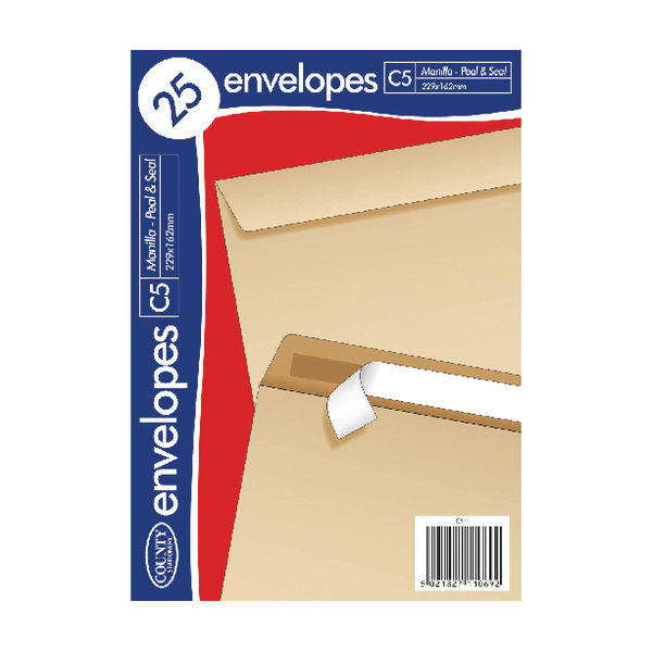 C5 County Stationery C5 25 Manilla PS Envelopes (20 Pack) C511