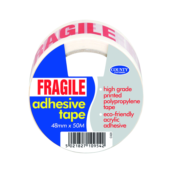 36-50mm County Adhesive Tape Fragile (6 Pack) C420
