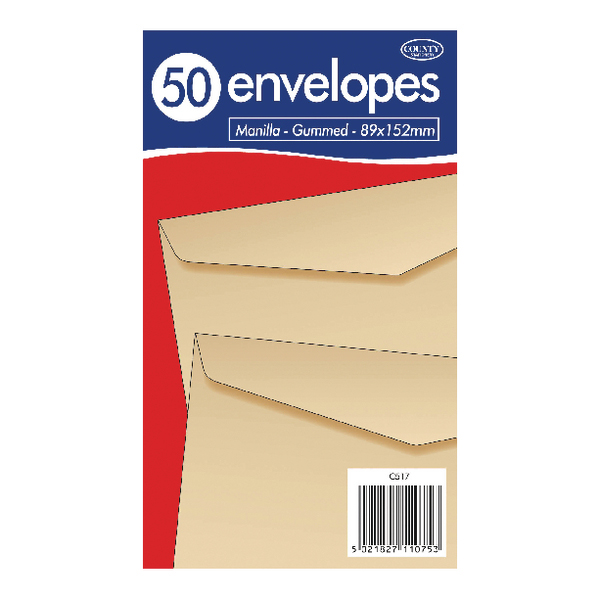 Other Sizes County Stationery Manilla Gummed Envelopes 89x152mm (1000 Pack) C517