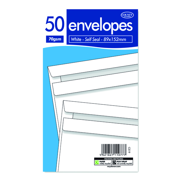 Other Sizes County Stationery  White Self Seal Envelopes 89x152mm (1000 Pack) C519