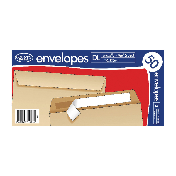 County Stationery DL Manilla Peal and Seal Envelopes (1000 Pack) C520