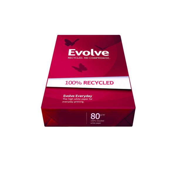 White 80gsm Evolve White Everyday Recycled A3 Paper 80gsm (500 Pack) 3613630000554