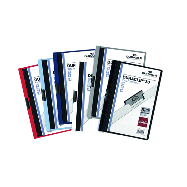 A4 Durable 3mm Duraclip File A4 Assorted (25 Pack) 2200/00