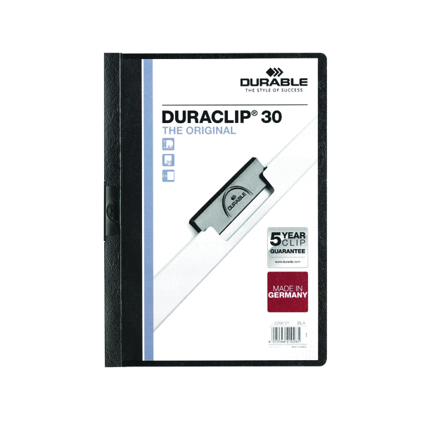 Durable 3mm Duraclip File A4 Black (25 Pack) 2200/01