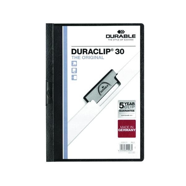 Durable 3mm Duraclip File A4 Black (25 Pack) 2200/01