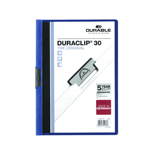 Durable 3mm Duraclip File A4 Dark Blue (25 Pack) 2200/07