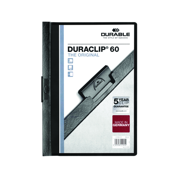 Durable 6mm Duraclip File A4 Black (25 Pack) 2209/01