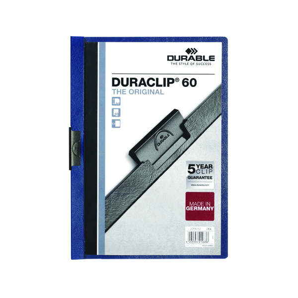 Durable 6mm Duraclip File A4 Dark Blue (25 Pack) 2209/07
