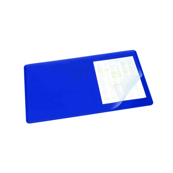 Unspecified Durable Desk Mat with Transparent Overlay 530 x 400mm Dark Blue 720207