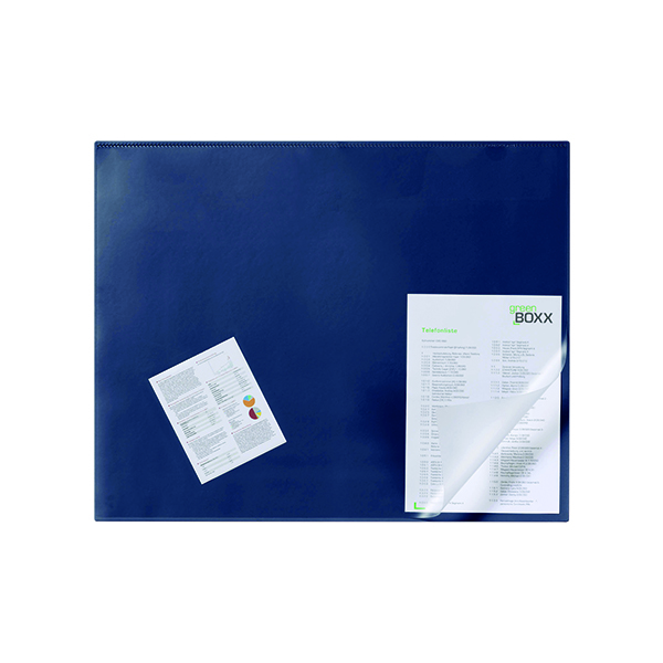 Unspecified Durable Desk Mat with Transparent Overlay 650 x 520mm Dark Blue 720307