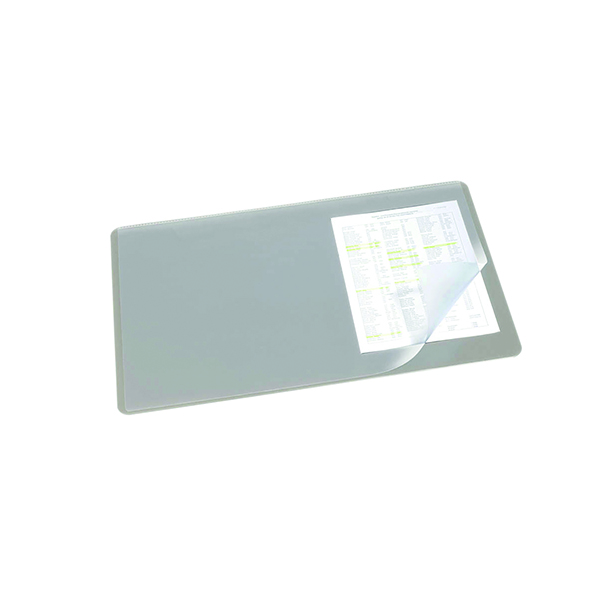 Unspecified Durable Desk Mat with Transparent Overlay 530 x 400mm Grey 720210