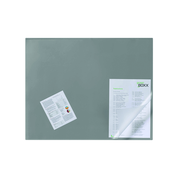 Unspecified Durable Desk Mat with Transparent Overlay 650 x 520mm Grey 720310