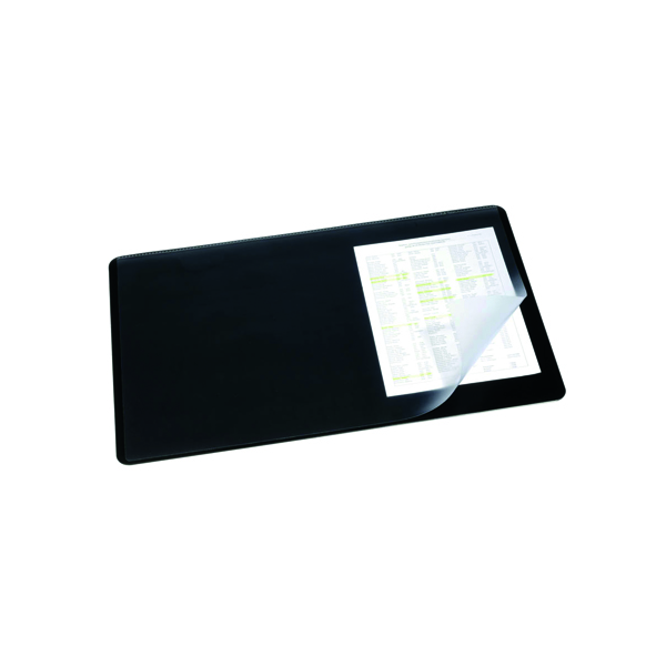 40x53cm Durable Desk Mat with Overlay W530 x D400mm Black/Clear 7202/01