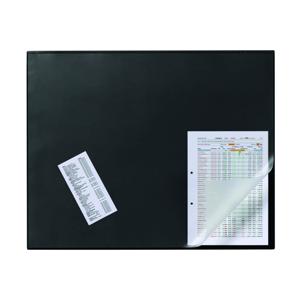 50x70cm Durable Desk Mat with Overlay W650 x D520mm Black/Clear 7203/01