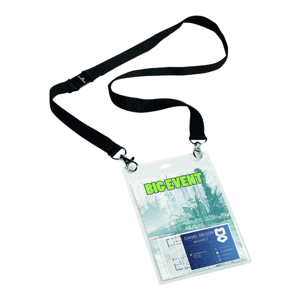 Durable A6 Name Badge with Textile Lanyard (10 Pack) 852501