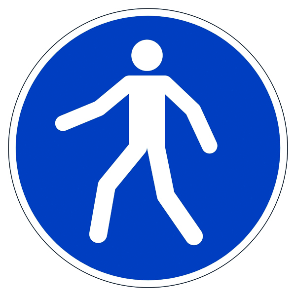 "Warning Durable Safety Marking ""Use Walkway"" Floor Sign, Diameter 430mm 173106"