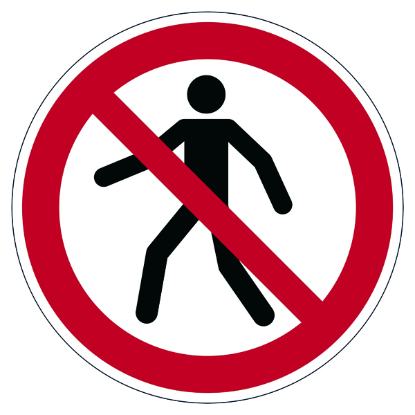 "Durable Safety Marking ""Pedestrians Prohibited"" Floor Sign, Diameter 430mm 173203"