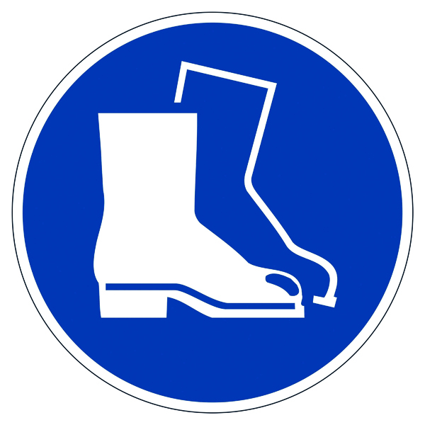 """Warning Durable Safety Marking """"Use Foot Protection"""" Floor Sign, Diameter 430mm 173306"""