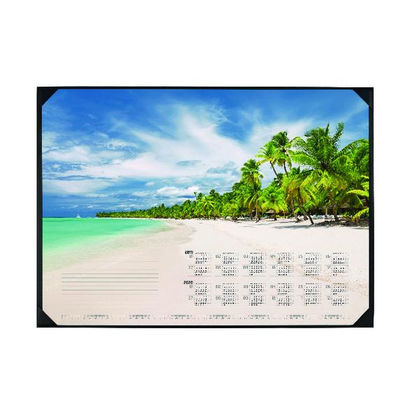 Durable Tropical Beach Calendar Desk Mat 590 x 420mm 7311