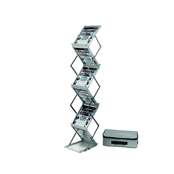 Literature Holders Deflecto Double Sided Folding Stand A4 Silver DE36100