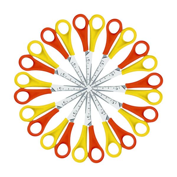 Westcott Left Handed Scissors 130mm Yellow/Orange (12 Pack) E-21593 00