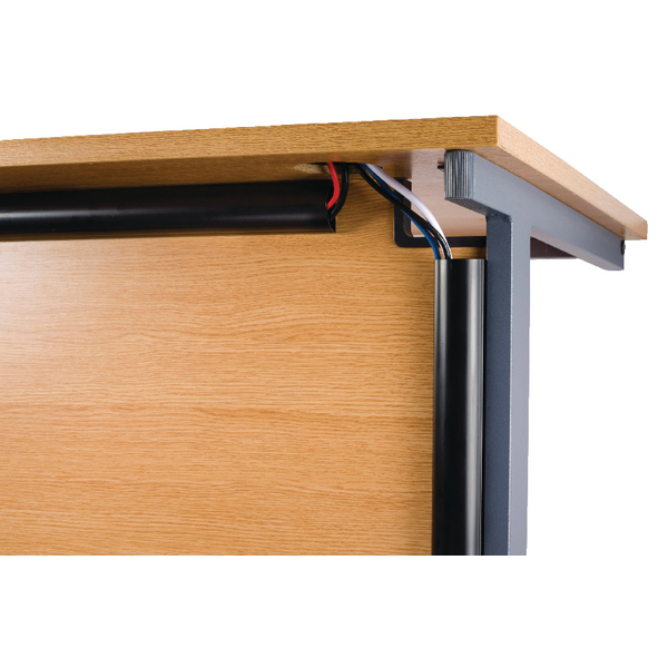 D-Line Black Desk Trunking Cable Management 50x25mm 1.5m 2D155025B (2 Pack)
