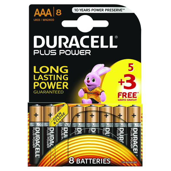 AAA Duracell Plus Power 1.5V AAA Alkaline Battery (8 Pack) PLUS POWER AAA 5