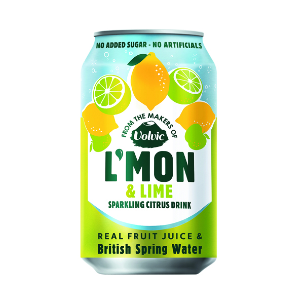 Cold Drinks Volvic L'Mon Sparkling Lemon and Lime 330ml (12 Pack) 145922
