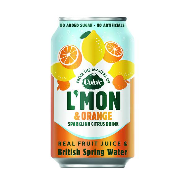 Cold Drinks Volvic L'Mon Sparkling Lemon and Orange 330ml (12 Pack) 145921