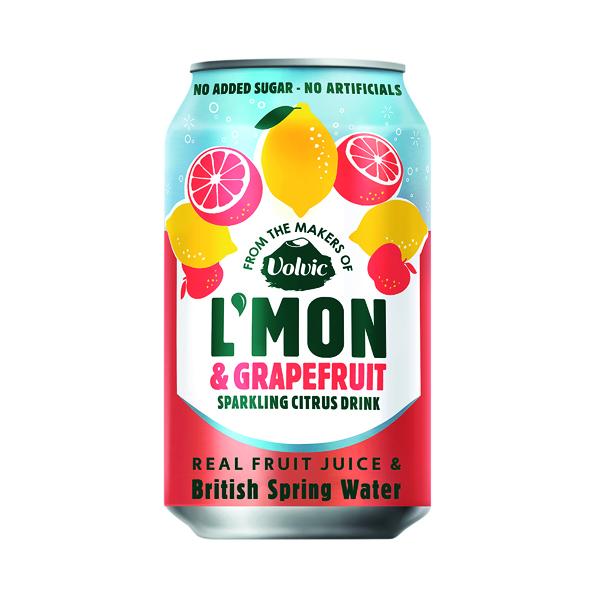 Cold Drinks Volvic L'Mon Sparkling Lemon and Grapefruit 330ml (12 Pack) 145739
