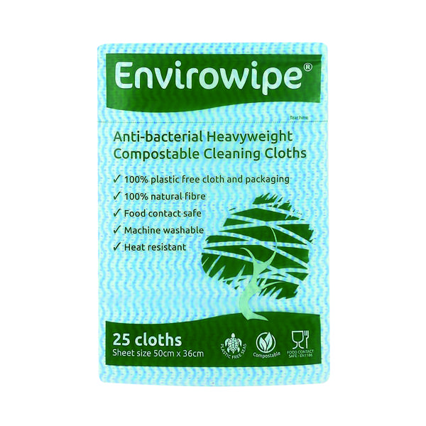 Disinfectant Wipes Envirowipe Antibacterial Blue Cleaning Cloths (25 Pack) EWF150