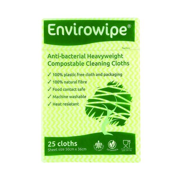 Disinfectant Wipes Envirowipe Antibacterial Yellow Cleaning Cloths (25 Pack) EWF153