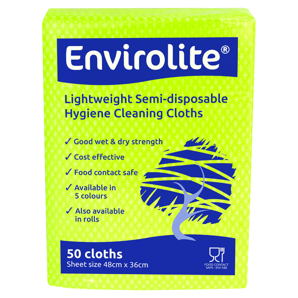 Disinfectant Wipes Envirolite 480x360mm Yellow Lightweight All Purpose Cloths (50 Pack) ELF500